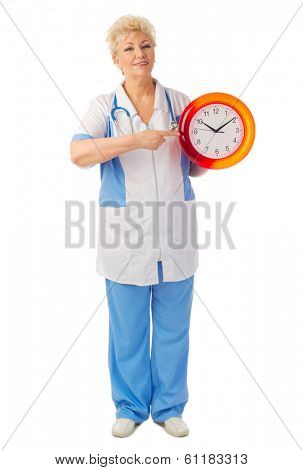 Mature nurse with clock isolated