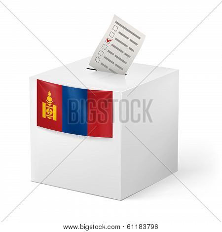 Ballot box with voting paper. Mongolia