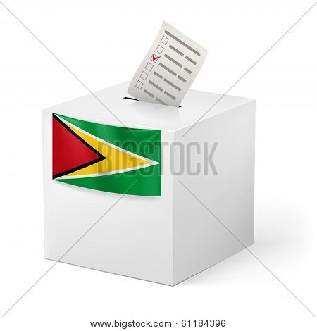 Ballot box with voting paper. Guyana