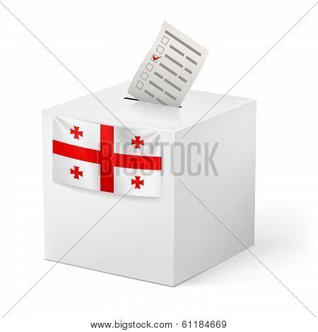 Ballot box with voting paper.  Georgia