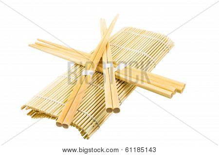 Wooden Chopsticks Lying On The Rug For Sushi