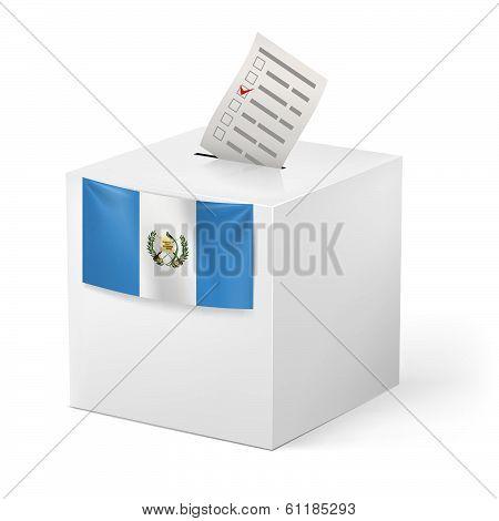 Ballot box with voting paper. Guatemala