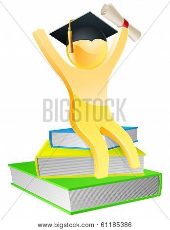 Graduate On Books With Scroll