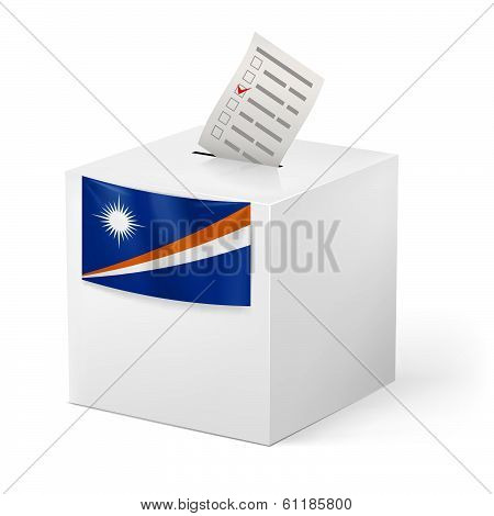 Ballot box with voting paper. Marshall Islands