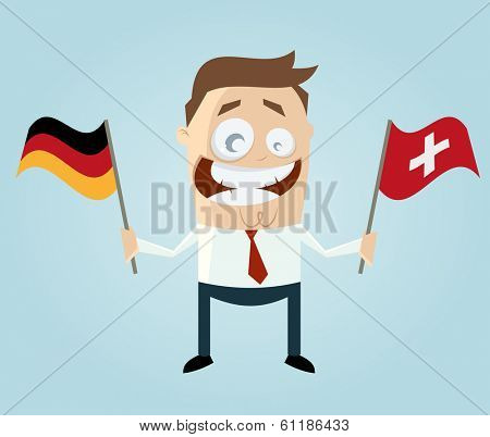 businessman with german and swiss flag