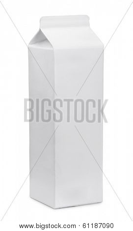 White generic drinks carton isolated on white
