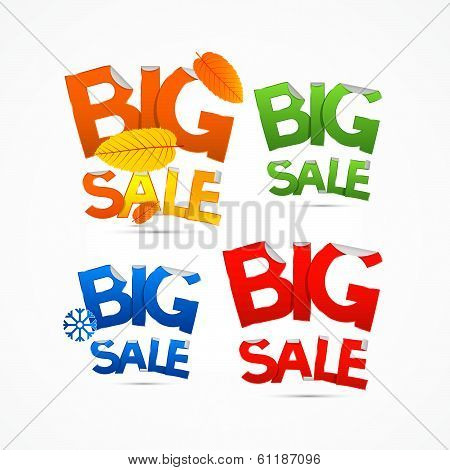 Colorful Big Sale Titles Isolated on White Background