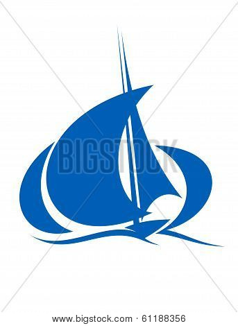 Yacht sailing the ocean waves