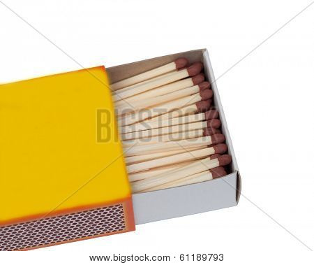 Matchbox with many matches isolated on white background