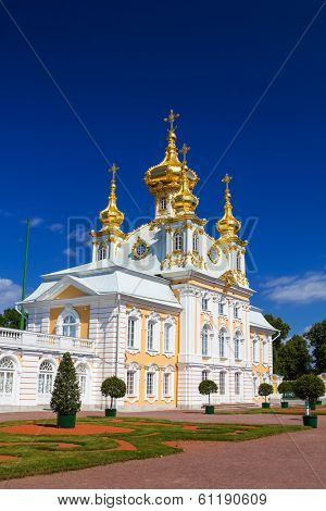 The East Chapel of The Peterhof Grand Palace in Saint-Petersburg, Russia. It was built in 1714 as a country residence of Peter The Great.