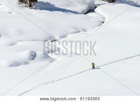 Snowboarder On A Path, Cuneaz, Ayas Valley (italy)