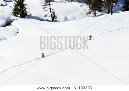 Two Snowboarders On A Path, Cuneaz, Ayas Valley (italy)