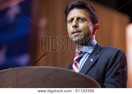 NATIONAL HARBOR, MD - MARCH 6, 2014: Louisiana Governor Bobby Jindal speaks at the Conservative Political Action Conference (CPAC).