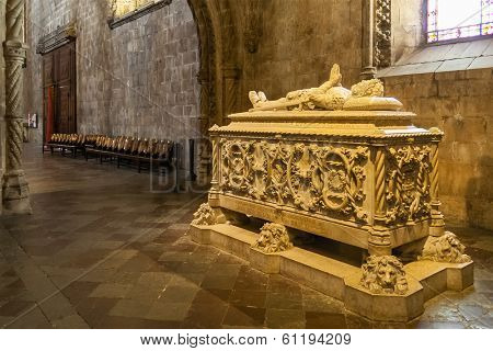 Lisbon, Portugal - June 30, 2013: Luis Vaz de Camoes Tomb. The most important Portuguese poet. Jeronimos monastery in Lisbon. UNESCO World Heritage