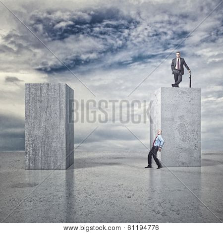 business people and 3d abstract background
