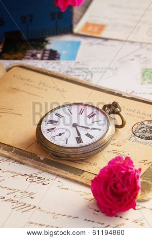 old mail  with  old clock