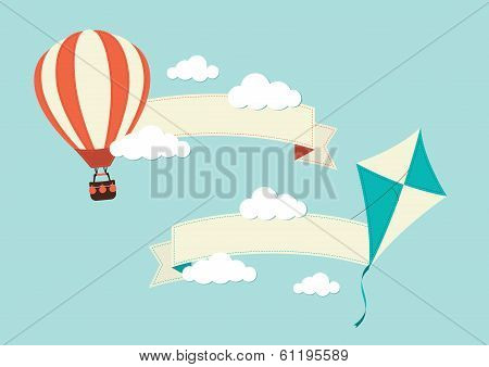 Hot Air Balloon and Kite