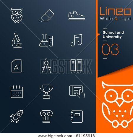 White & Light - School and University outline icons