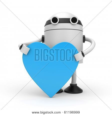 Robot heart. Isolated on white
