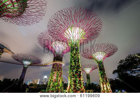 SINGAPORE-FEB 14: Night view of The Supertree Grove at Gardens by the Bay on Feb 14, 2014 in Singapore. Spanning 101 hectares, and five-minute walk from Bayfront MRT Station.