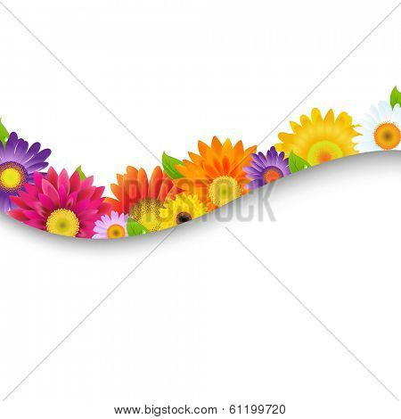 Colorful Gerbers Flowers Frame, With Gradient Mesh, Vector Illustration