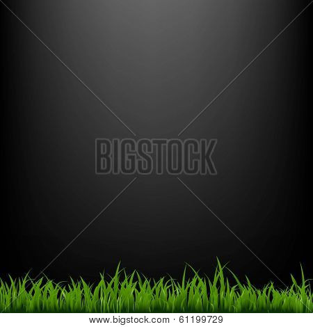 Black Background With Grass, With Gradient Mesh, Vector Illustration