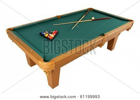 Full pool table with green top, balls, and cue on white