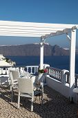 Hotel And Romantic Balcony On Santorini Island
