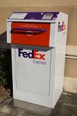 JACKSONVILLE, FL-MARCH 8, 2014: A FedEx Express drop box in Jacksonville. FedEx Express is the world