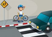 Illustration of a boy with a bike standing near the pedestrian lane