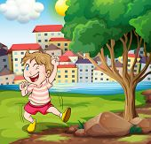 Illustration of a happy kid near the tree at the riverbank beside the tall buildings