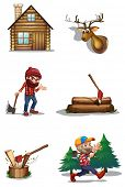 Illustration of a life of a lumberjack on a white background