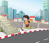 Illustration of a girl running at the street near the stairs