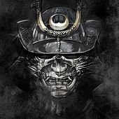 stock photo of shogun  - illustrations from a Japanese samurai warrior mask - JPG