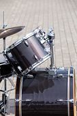 foto of drum-kit  - Black drum kit ready for play. Musicians series.