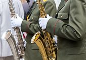 Постер, плакат: Military Musicians With Saxophones