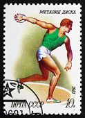 Postage Stamp Russia 1981 Discus Throwing, Sport