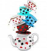 stock photo of alice wonderland  - Wonderland Mad Tea Party Pyramid - JPG