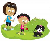 picture of puppies mother dog  - Illustration of a mother and daughter walking their dog - JPG