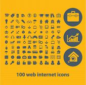 100 web internet, office, business icons, buttons, symbols, buttons isolated set, vector on backgrou