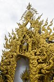 stock photo of apex  - Golden Gable Apex In Wat Rong Khun  - JPG
