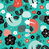 image of fish pond  - Seamless Koi Carp sushi fish Asian illustration background pattern in vector - JPG