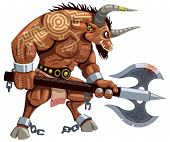 foto of monster symbol  - Minotaur over white background - JPG