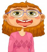 image of pimples  - unattractive dorky girl with glasses and pimples - JPG