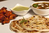 stock photo of paneer  - Paratha with paneer masala and chicken kebab - JPG