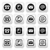 Contact buttons in circle and square set - mobile, phone, email, envelope