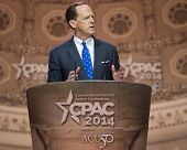 NATIONAL HARBOR, MD - MARCH 6, 2014: Senator Pat Toomey (R-PA) speaks at the Conservative Political