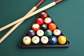 Still life of billiards table with two cues and rack of balls
