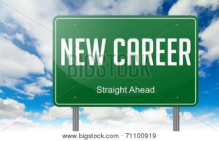 New Career on Green Highway Signpost.