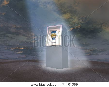ATM illuminated by a light beam